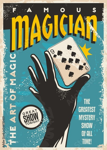 Photo Magician poster design with hand silhouette and plating cards