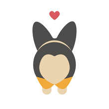 Cute Cartoon Valentine Day Card For Your Beloved One. Lovely Corgi Dog Butt In A Form Of A Heart. Animal Print, Sticker Or Vector Liiustration.
