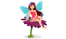 Cute Little Fairy Sitting On A...