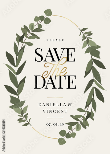 Eucaliptus Branches Save the Date Card Template Wallpaper Mural