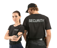 Male And Female Security Guards On White Background
