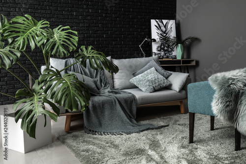 Green tropical plant in interior of room Fototapet