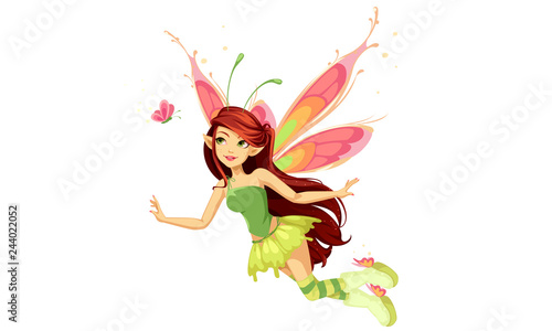 Flying butterfly fairy Fototapeta