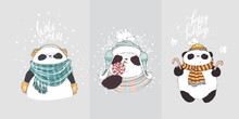 Panda In Scarf And Hat With Bubo With Lettering Hate Winter. Vector Illustration For Greeting Card, Poster, Or Print On Clothes. Christmas And New Year.