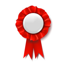 Red Award Ribbon Vector. Winne...