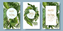 Vector Ropical Leaves Wedding Invitation Card Set