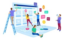 Web Development. Project Team Of Engineers For Website Create. Webpage Building. UI UX Design. Characters On A Concept. Web Agency. Template For Programmer Or Designer. Vector Illustration.