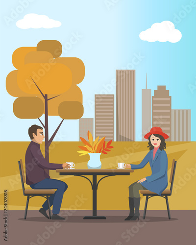 Cafe in Autumn City Park People in Love Vector Canvas Print