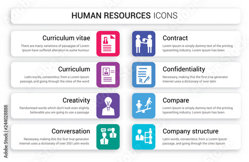 Set Of 8 White Human Resources Icons Such As Curriculum Vitae