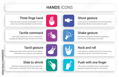 Set of 8 white hands icons such as Three finge hand gesture, Tactile