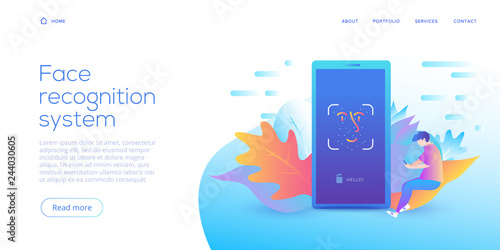 Face recognition technology in creative flat vector