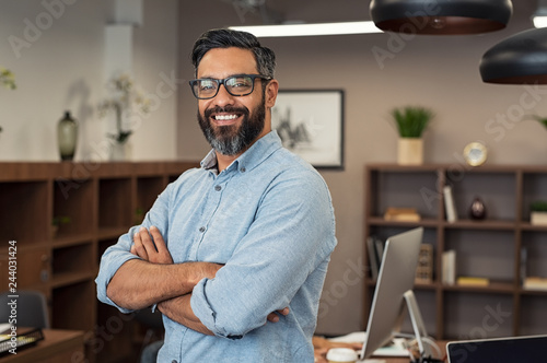 Mature mixed race business man Canvas