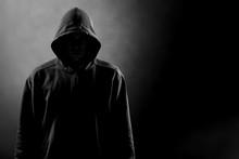 Dark Unrecognisable Man In Hoo...