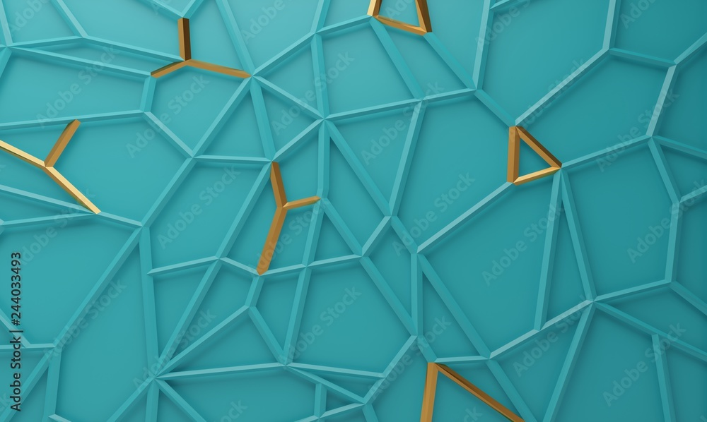 Fototapety, obrazy: Abstract geometric polygonal structure with metallic accents. 3D render