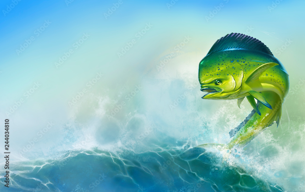 Fototapety, obrazy: Mahi mahi or dolphin fish on background. Big fish on the background of large waves.
