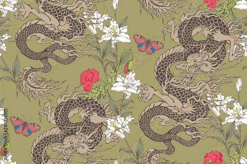 Pattern of asian dragon and flowers Fototapet