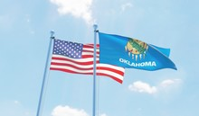 USA And State Oklahoma, Two Fl...