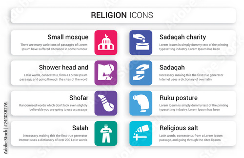 Photo  Set of 8 white religion icons such as Small Mosque, Shower Head and Water, Shofa