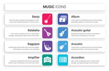 Set Of 8 White Music Icons Suc...