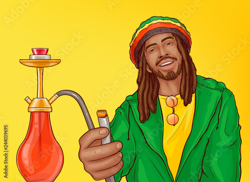 Obraz na plátně  Relaxed smiling and carefree rasta man with dreadlocks in crocheted rastacap offering to smoke hookah pop art vector illustration