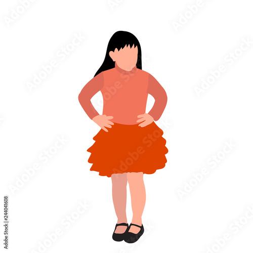 Fotografía  vector, on white background, faceless child, girl