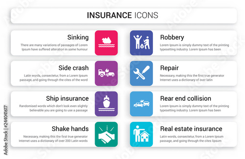 Photo  Set of 8 white insurance icons such as Sinking, Side crash, Ship insurance, Shak