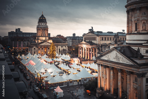 Gendarmenmarkt Christmas market, Deutscher Dom and konzerthaus in Berlin, German Wallpaper Mural