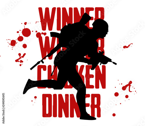 Silhouette Of A Running Soldier Pubg Player In Uniform