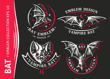Bat Vampire Collection - Vector Illustration, Logo, Emblem, Print Design.