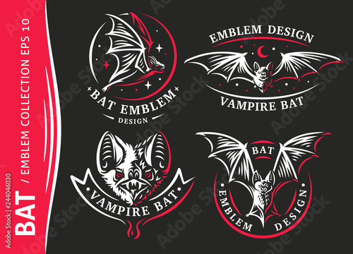 Billede på lærred Bat vampire collection - vector illustration, logo, emblem, print design