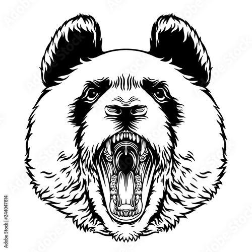 Recess Fitting Hand drawn Sketch of animals Angry Roaring Panda Head Vector Mascot Character Emblem, grins
