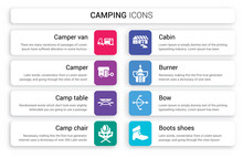 Set Of 8 White Camping Icons Such As Camper Van, Camper, Camp Table, Camp Chair, Cabin, Burner Isolated On Colorful Background