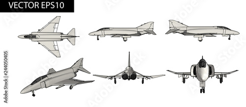 Leinwand Poster Vector jet aircraft for soldiers