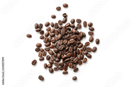 Keuken foto achterwand koffiebar Roasted coffee beans isolated on white background. Close-up.