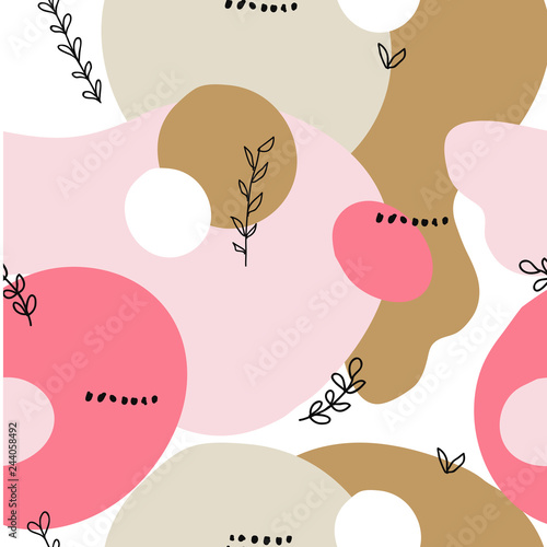 Fototapeten Künstlich Abstract shapes seamless collage pattern with dots, floral, round and angles and geometrical elements. Tileable modern wallpaper background for web, banners, cards, fabric, textile and surface design