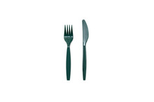 Green Plastic Knife And Fork Isolated On A White Background.