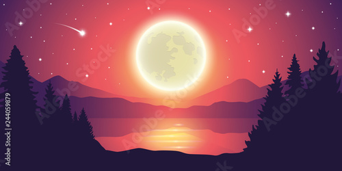 romantic full moon and falling stars by the lake landscape vector illustration EPS10