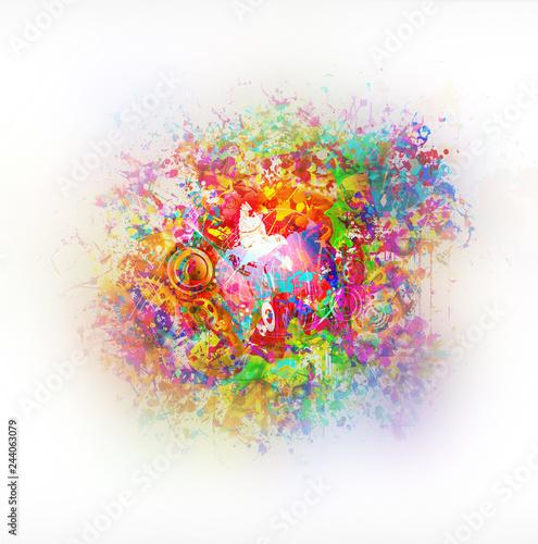 абстрактный волшебный красочный фон с цветами
