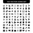 Set of 100 Vector icons such as Repair, Insurance, Heart, Calendar, Disabled, Luggage, Contract, Payment, Unemployed, Calendar