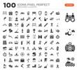 Set of 100 icons such as Sun umbrella, Photo camera, Moon, Binoculars, Swimming pool, Sun, Shovel, Sunbathing, Boot, Telescope