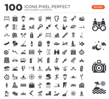 Set Of 100 Icons Such As Sun Umbrella, Photo Camera, Moon, Binoculars, Swimming Pool, Sun, Shovel, Sunbathing, Boot, Telescope