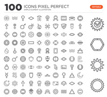 Set Of 100 Linear Icons Such A...
