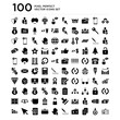 100 pack of Settings gears, Target, File, Wallet filled money tool, Pen writing tool icons, universal icons set