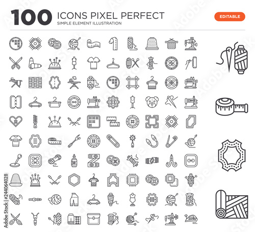 Set of 100 linear icons such as Fabric, Leather, Measuring tape, Spool thread, Sewing machine, Sewing, Crochet, Thread, Pocket Wall mural
