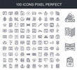 100 line icon set. Trendy thin and simple icons such as Flyer, Trifold, Pantone, Ink level, Plotter, Boxes, Binding, Printer