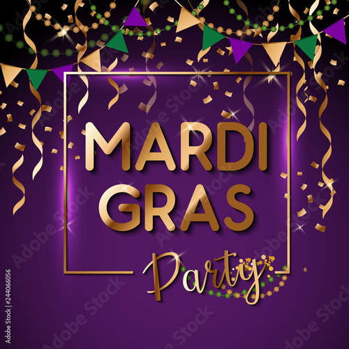 Canvastavla Mardi Gras gold glitter text with sparkles