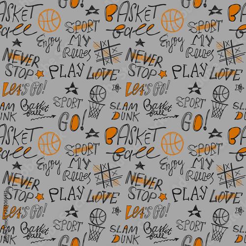 Fotomural Sketch Handwritten basketball seamless pattern
