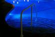canvas print picture - Steps into swimming pool by night