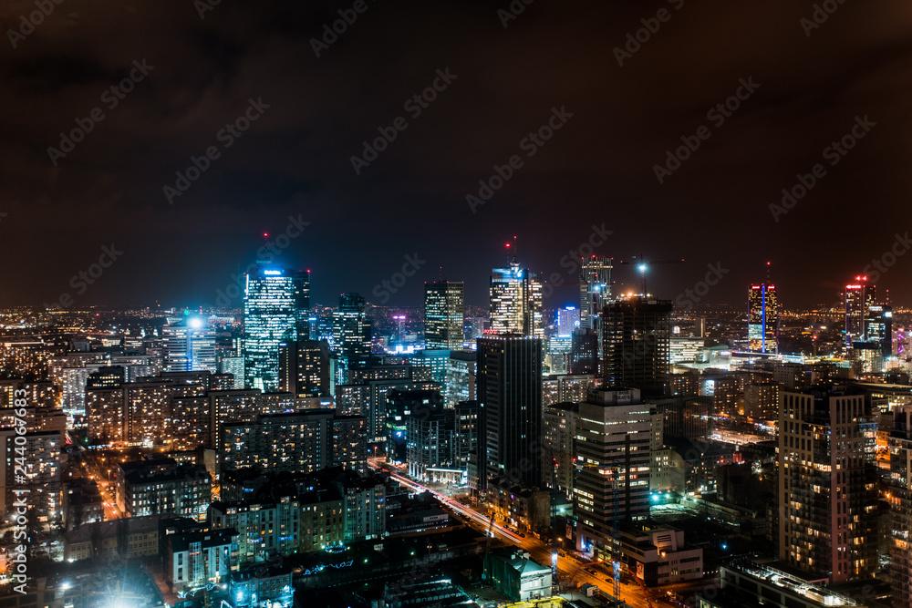 Fototapety, obrazy: Warsaw city view at night