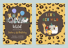 Yellow Brown Birthday Card With Lion,elephant, Giraffe, Zebra,llama,alpaca And Parrot